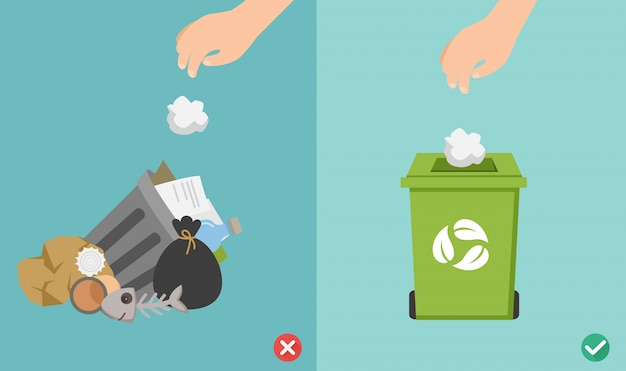 No tire las basuras al suelo, mal y bien. ilustración.