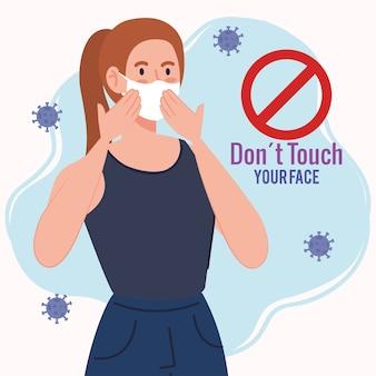 No toque su cara, mujer joven que usa mascarilla, evite tocarse la cara, prevención del coronavirus covid19
