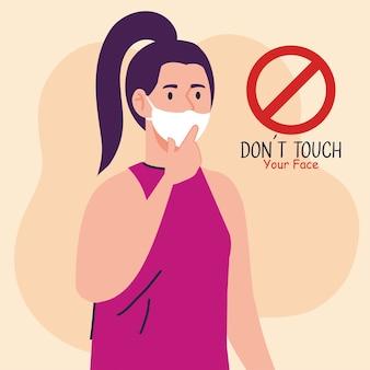No toques tu cara, mujer joven con mascarilla