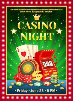Noche brillante cartel de casino