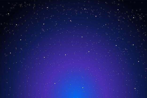 Noche brillante cielo estrellado, fondo espacio azul púrpura oscuro con estrellas, ilustración cosmos