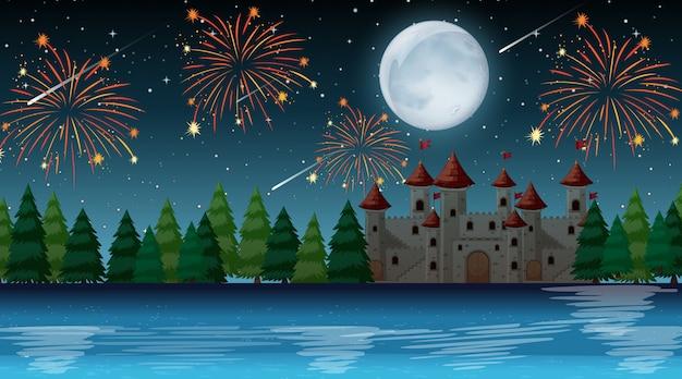 Noche de celebración sobre el castillo