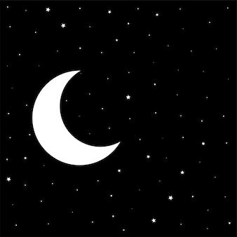 Noche cielo negro con luna y estrellas.