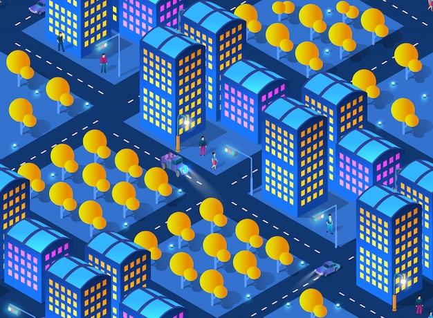 La noche ciudad inteligente futuro neón ultravioleta.