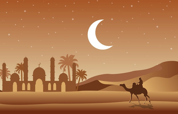 Noche desierto mezquita islámica fecha palmera paisaje árabe ilustración