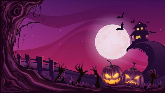 Noche espeluznante en el cementerio con calabazas y casa feliz halloween