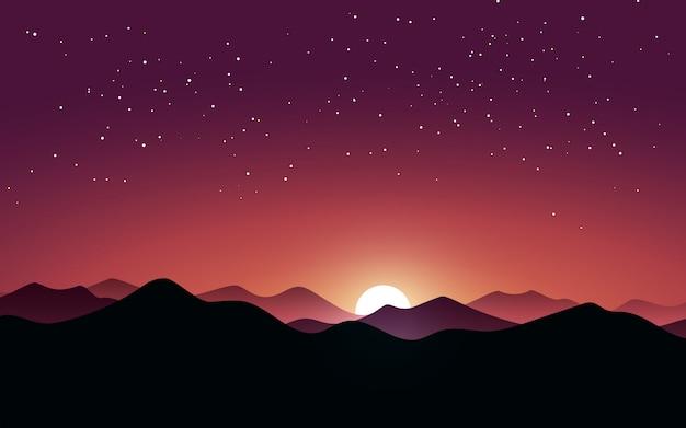 Noche estrellada en las montañas con luz de luna
