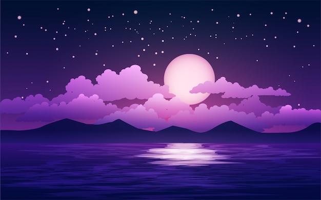 Noche estrellada con nubes y luna