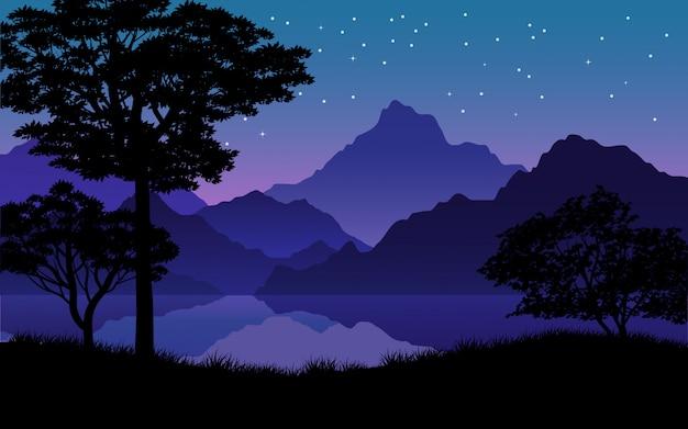 Noche estrellada tranquila con montañas, río y silueta de árbol