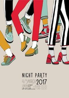 Noche fiesta mano dibujado colorido cartel con piernas bailando.