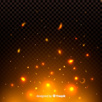 Noche de fuego chispas y efecto de partículas