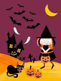 Noche de halloween y fondo de bruja lindo