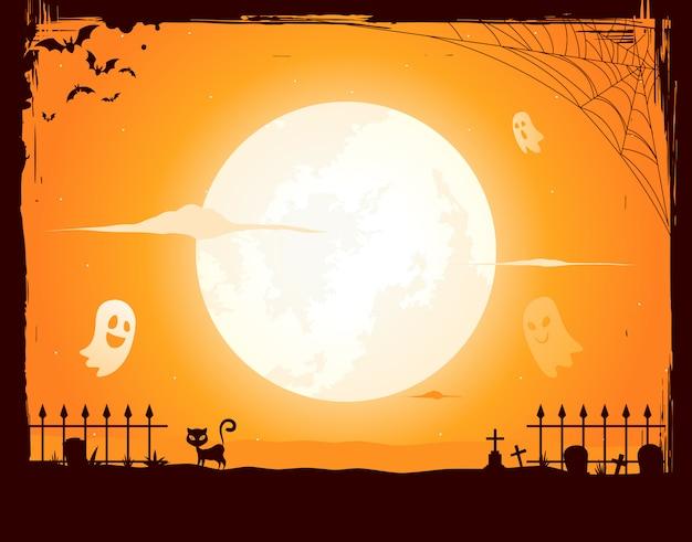 Noche de halloween en un marco grunge