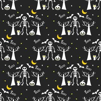 Noche de halloween de patrones sin fisuras.