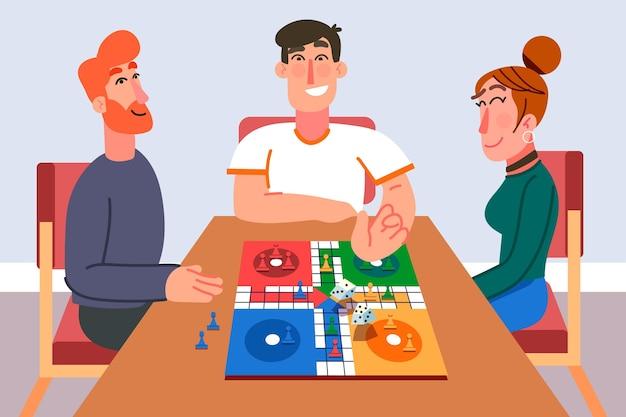 Noche de juegos de ludo con amigos