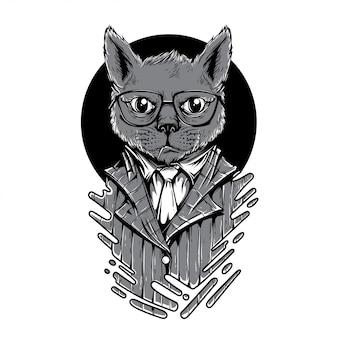 Noche jugar a gato ilustración en blanco y negro