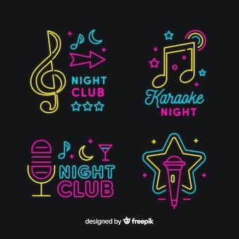Noche de karaoke set de letreros con luces de neón