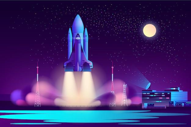 Noche de lanzadera espacial lanzando vector de dibujos animados