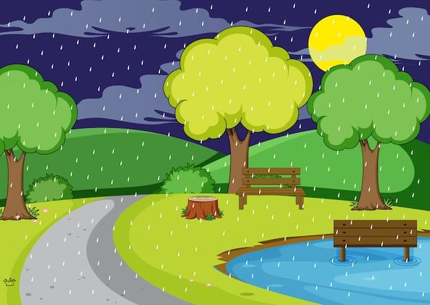 Noche de lluvia en el parque