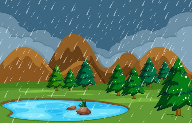 Noche lluviosa en la naturaleza del estanque.