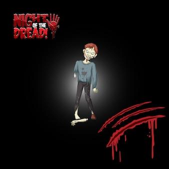 Noche del logo de la palabra pavor con zombie