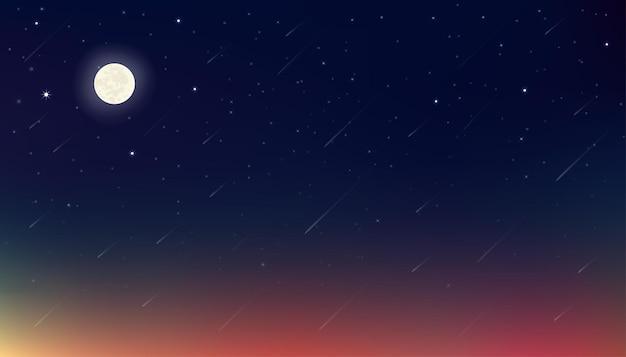 Noche con luna, estrellas con cielo azul, morado y naranja.