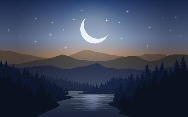 Noche mística en bosque de pinos con río y el cielo estrellado.