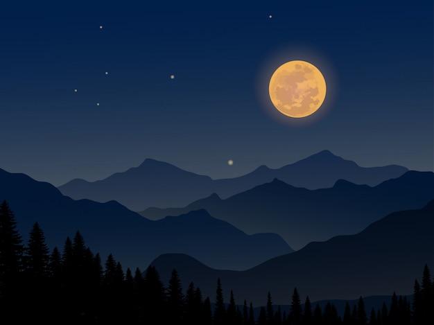 Noche en la montaña con luna llena y bosque de pinos.