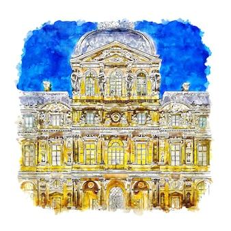 Noche museo del louvre parís francia acuarela dibujo dibujado a mano ilustración