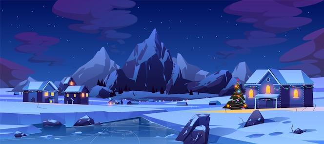 Noche de navidad en la ciudad de montaña o canadá
