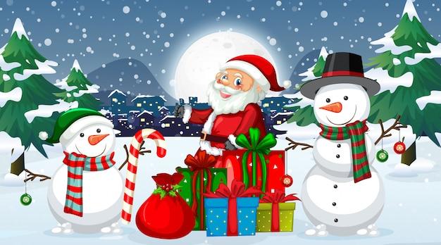 Noche de navidad con santa y muñeco de nieve