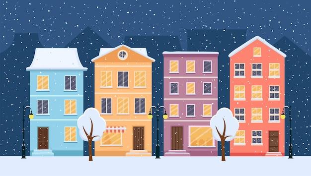 Noche de nieve de navidad en la acogedora calle de la ciudad. panorama de la ciudad, ilustración vectorial