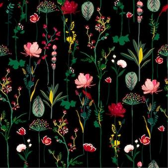 La noche oscura florece las flores botánicas patrón transparente suave y suave en diseño de repetición de vector