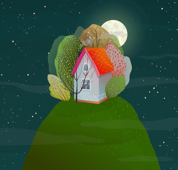 Noche oscura manguera romántica en la naturaleza en la cima de la colina con bosque. vector estilo acuarela