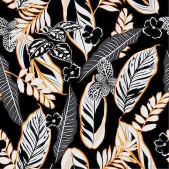 Noche oscura tropical hojas y follaje de patrones sin fisuras