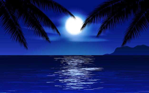 Noche en la playa con palmeras y luna llena.