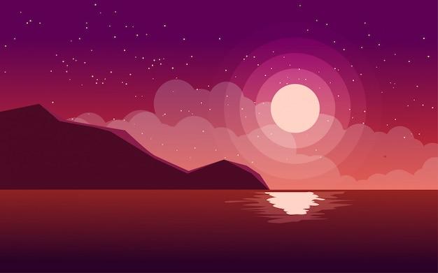 Noche de playa plana con roca