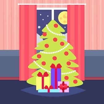 Noche sala de estar decorada feliz navidad feliz año nuevo pino árbol hogar decoración interior vacaciones de invierno plano