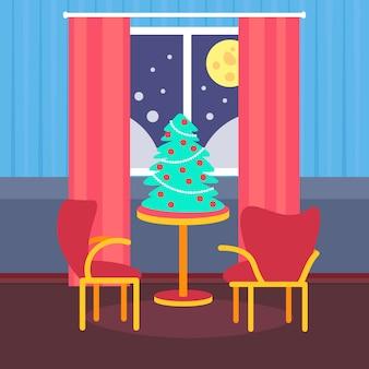 Noche sala de estar decorada feliz navidad feliz año nuevo pino en la mesa decoración del hogar interior vacaciones de invierno plano