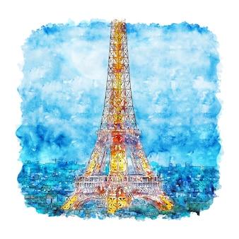 Noche torre eiffel parís francia acuarela dibujo dibujado a mano ilustración