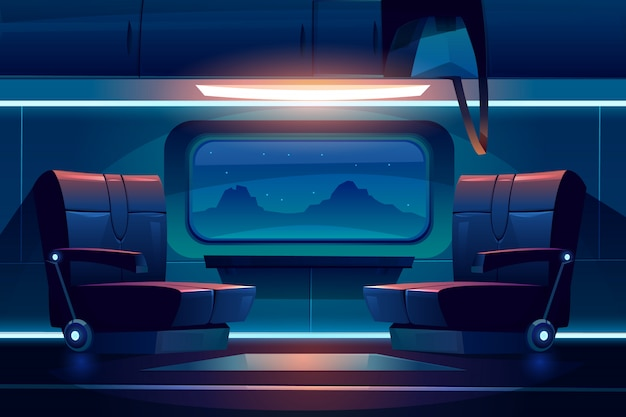Noche de tren en el interior del ferrocarril vacío