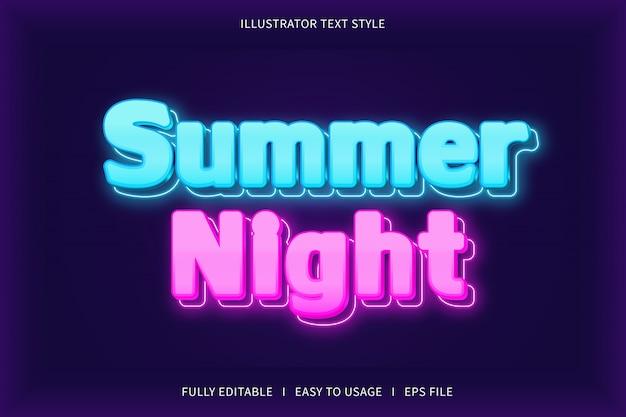Noche de verano, estilo de texto efecto de fuente de neón azul rosa