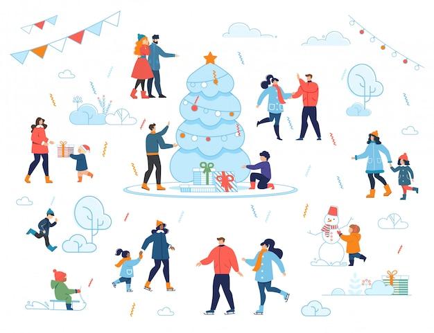 Nochebuena celebración familiar al aire libre dibujos animados