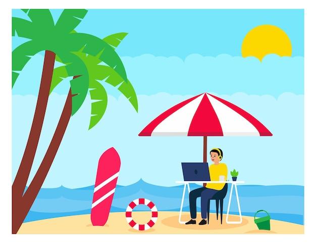 Nómada digital trabajando con vacaciones