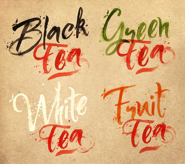 Nombres dibujados de diferentes tipos de té, negro, verde, blanco, frutas, gotas de té en papel kraft