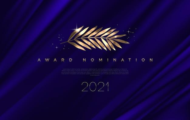 Nominación al premio - plantilla de diseño. hojas doradas sobre un fondo de tela azul profundo.