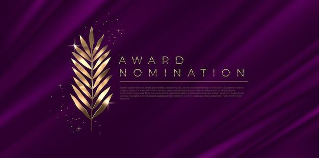 Nominación al premio - plantilla de diseño. hojas doradas sobre un fondo de tela morada.