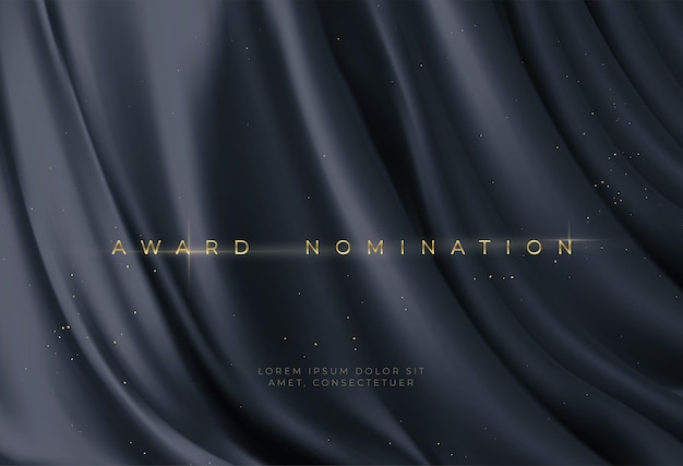 Nominación al premio sobre fondo ondulado negro de lujo