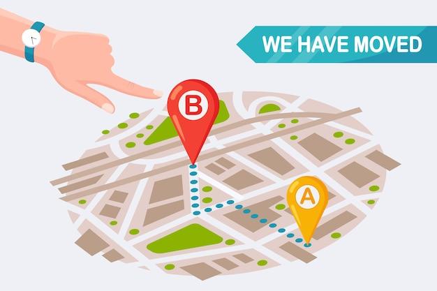 Nos hemos mudado. nueva dirección en el mapa con alfiler. anuncie un cambio en la ubicación de la oficina. diseño de dibujos animados