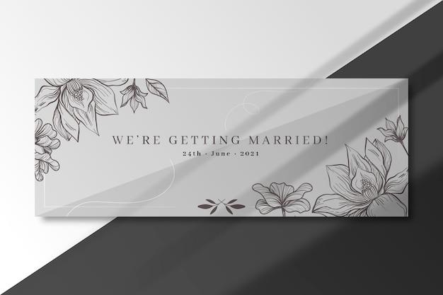 Nos vamos a casar plantilla de banner plateado